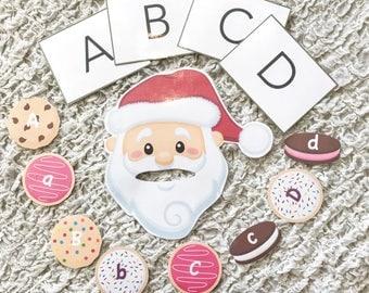 Santa's ABC Cookie Crunch - Printable Alphabet Cookie Game with Santa