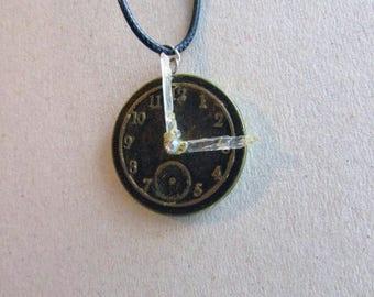 Handmade  pendant quartz polymer clay crystal  clock face dial polymer clay jewelry