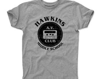 Stranger Things Kids T-Shirt | Tv Show & Hawkins Middle School Themed Apparel | Stranger Things Hawkins A.v. Club