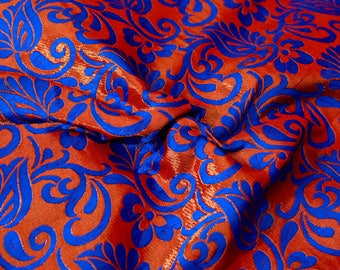 Red and Blue leaf-flower brocade silk fabric-623