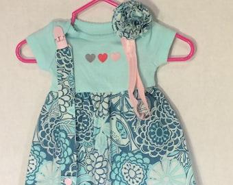 NB Hearts and Birds Onesie Dress Set
