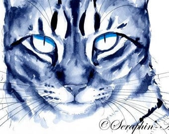 Cat Original Watercolor Painting