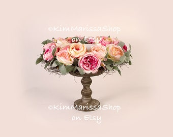 Digital Background, Pink, Peach, Flowers, Newborn, Baby,  Backdrop for composites