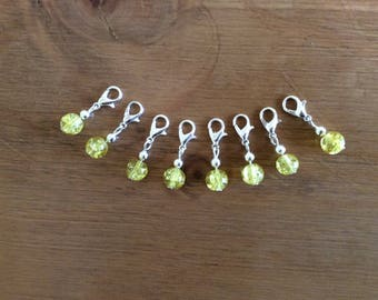 Stitch markers set of 8 crochet, knitting, clip charm, yellow crackle glass bead.