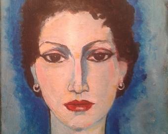 Painting. Acrylic on canvas. Handpainted. Portrait. Woman. Kees van Dongen. Paris. Fauvism. Modern.