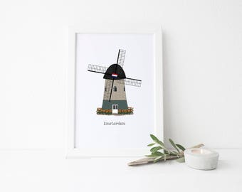 Amsterdam Travel Art Print - Country Windmill