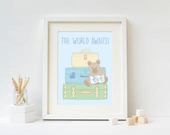 The World Awaits - Travel Nursery Art Print