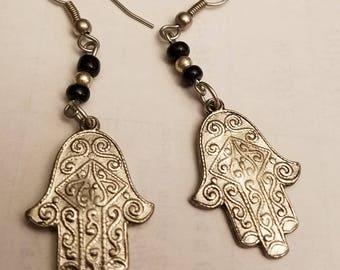 silver Hamsa dangle earrings for pierced ears