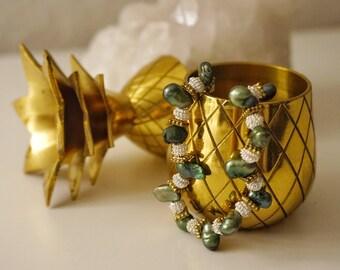 Green Freshwater Pearl Beaded Bracelet