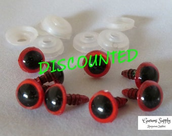 10mm Red Color Round Safety Eyes with Black Pupils