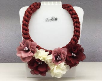 Fabric flower necklace,burgundy floral jewelry,pink rope necklace,romantic wedding accessories,boho beaded collar,bridal bib gift,braided