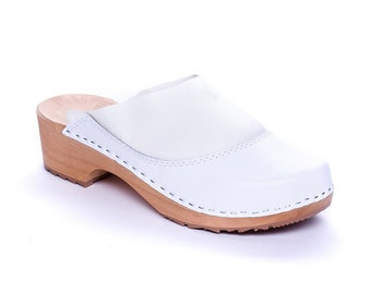 Leather clogs white sandals  Wooden clogs  swedish clogs Handmade clogs sandals  Gift for women mules wood white scandinavian clog slippers