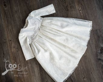 baptism dress with long sleever with soft lace in ivory colour