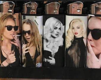 Lindsay Lohan - FIVE (5) Custom Handmade Lighters - Unique Lighter Gift Set (BIC Lighters Available)