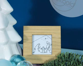 Nativity-Mary and Joseph with baby Jesus, miniature frame with art print for hanging or standing, black-white or black-gold, 7x7cm