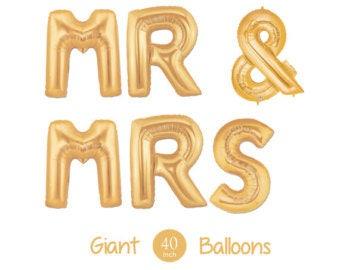 "40"" MR & MRS Gold Balloons- Giant Gold Balloons- Gold Couple Balloons- Bridal Shower Balloons"