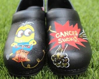 """Nurse shoes - """"Cancer Sucks"""" design"""