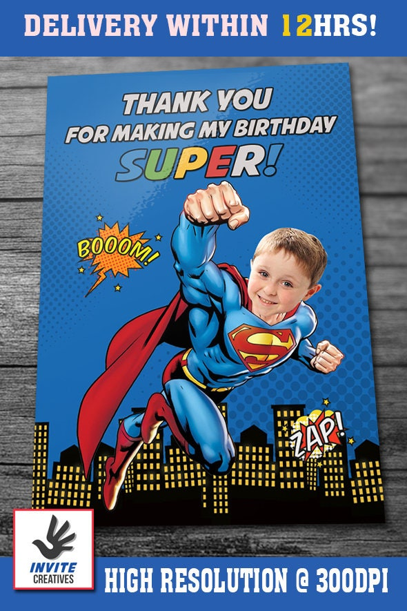 Superman Invitation with Custom Face and FREE Thank you card