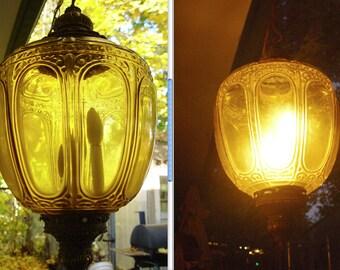Vintage Large Mid Century Hollywood Regency Triple Bulb Ornate Amber Glass Ball Swag Lamp