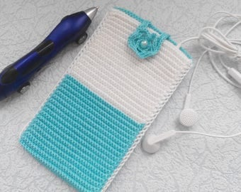 Knitted cover for a telephone, cover for the telephone of handwork, cover for the keys, cover for little things