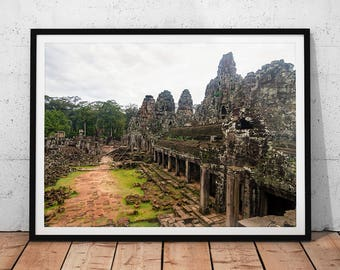 Bayon Temple Ruins Photo // Cambodia Travel Photography Print, Angkor Buddhist Wall Art, Asia Archaeology Home Decor, Buddhism Office Art