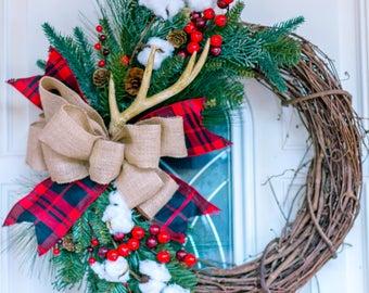 Rustic wreath, winter wreath, Christmas wreath, cotton wreath, country wreath, woodland wreath, winter wreath, farmhouse wreath