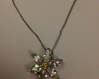 Silver chain necklace with snowflake sparkling charm