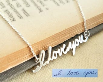 Signature Necklace, Handwriting Necklace, Signature Jewelry, Actual Handwriting, Personalized Gift, Christmas Jewelry, Sterling Silver,