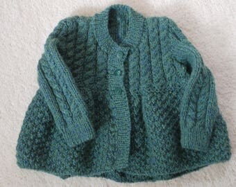 Girls cardigan with cabled yoke