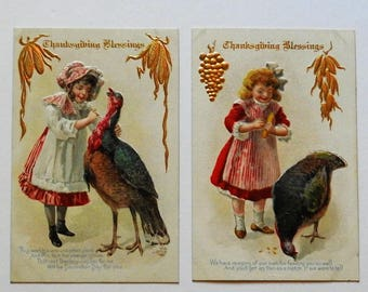 4 Vintage Thanksgiving Postcards with Pretty Girls and Turkeys - Embossed and UNUSED !