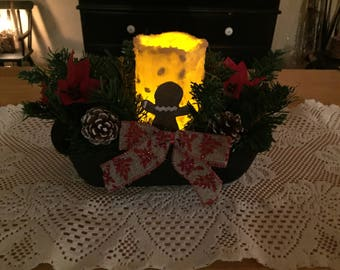 Gingerbread man and poinsettia Christmas decoration