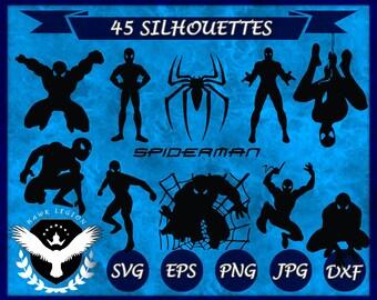 45 Spiderman Silhouette | Spiderman Clipart | Spiderman SVG | Spiderman Vector | Spiderman Printable | Spiderman Decoration | Superhero