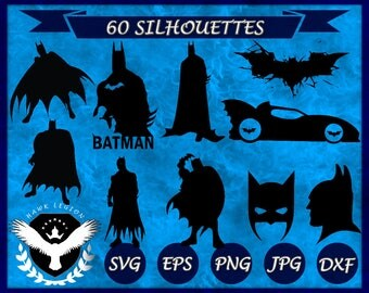60 Batman Silhouette | Batman SVG | Batman Clipart | Batman Vector | Batman Print | Batman Decor | Superhero SVG | Superhero Silhouette