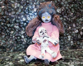 LISA doll with her mummy creepy horror haunted gothic zombie scary handmade porcelain OOAK