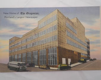 "Linen Postcard ""The Oregonian"" Newspaper Building"