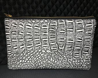 medium black and white gator faux leather