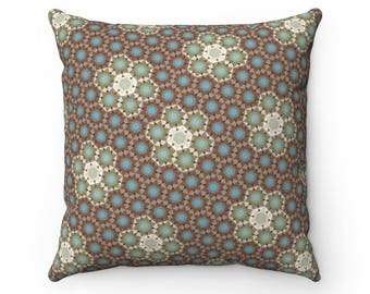 Hills Pattern Pillow  Faux Suede Square Pillow