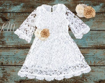 flower girl dress, flower girl dresses, flower girl lace dress, ivory lace dress, country rustic flower girl dress, long sleeve lace dress