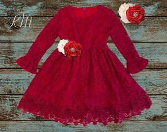 lace flower girl dress, burgundy lace dresses, Christmas red dress, long sleeve, toddler, country, rustic, red, baby girl dress, christmas