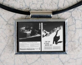 Cat on A Cold White Alp Microfiche Necklace - Life Magazine 9-7-62