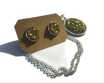 Gold Druzy necklace/earring combo