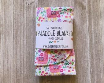 Pink Floral Llama Baby Swaddle Blanket