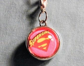 Superman Supergirl Two Sided Zipper Pull/Purse Charm/Key Ring/Dust Plug  Z171