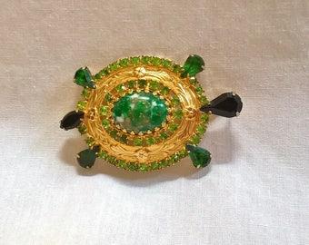 Vintage Green Rhinestone Turtle Pendant