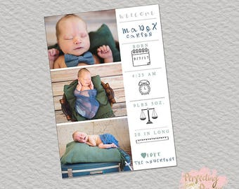 Newborn icon birth announcement boy neutral girl digital photography template 5x7