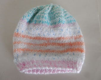 Knitted multi-colored baby hat