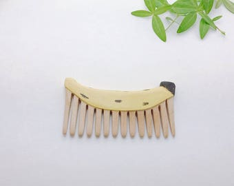 Handcarved Banana Pocket Comb, recycled wood handmade hairbursh, perfect gift, made in north vancoucer, canada, love nature