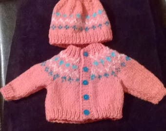 Winter outfit for any 15 inch and over doll - fairisle bobble hat and cardigan