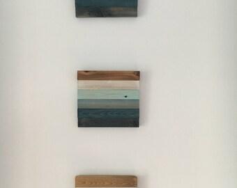 Set of 3: Water Views wall hanging in cool blues & aquas // coastal decor // beach house // housewarming gift // nursery// surf