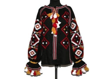 Custom boho Clothing Blouse Bohemian Style Ukrainian Embroidery Linen Vyshyvanka Chic Nationale Fashion Ukrainian Boho Ukraine Linen Blouses